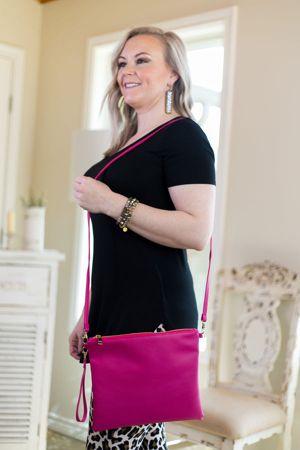 Something New Wristlet or Crossbody Purse in Hot Pink