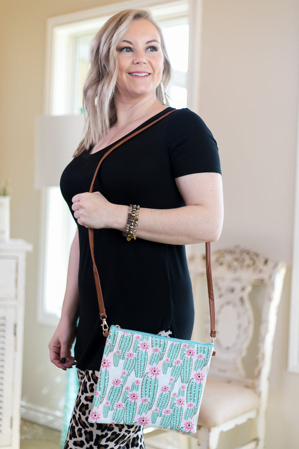 Something New Wristlet or Crossbody Cactus Purse (Mint Zipper)