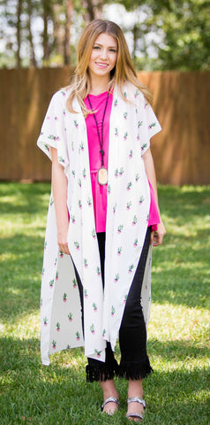 You're Stuck With Me Cactus Printed Duster in White