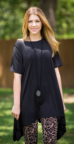 Not A Doubt Asymmetrical Hemline Tunic in Black