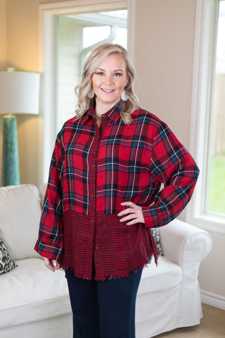 Everlasting Winter Plaid Long Sleeve Button Up Top in Red