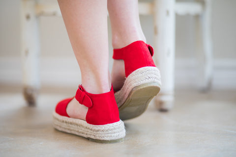 Not A Drille Platform Espadrille Sandals in Red