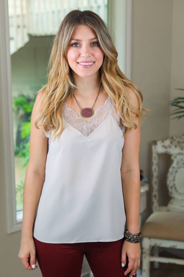 Make Your Move Solid Camisole with Lace Trim in Taupe Ivory