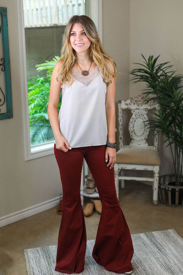Judy Blue | Won't Forget Her Super Flare Raw Hem Jeans in Maroon