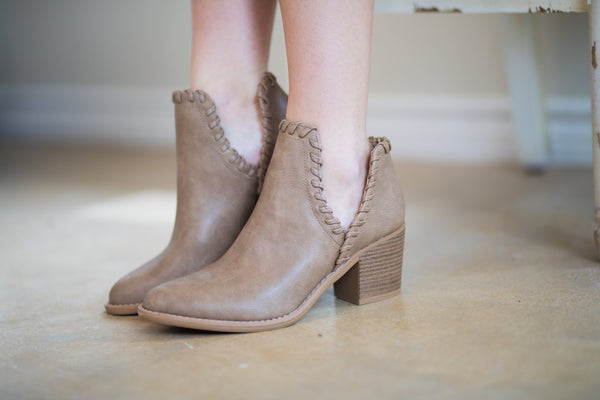 Walk Your Walk Side Slit Ankle Booties in Taupe - FURTHER REDUCED - Size 5.5