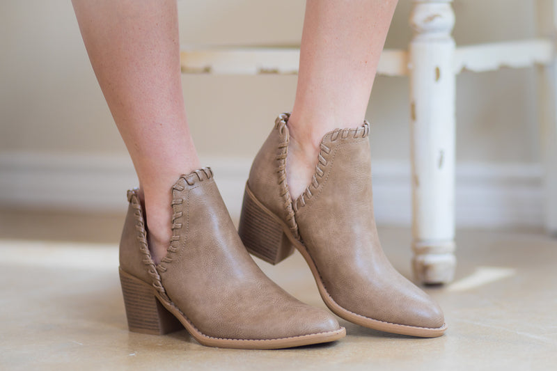 Walk Your Walk Side Slit Ankle Booties in Taupe
