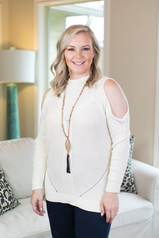 Favorite Time Cold Shoulder Cable Knit Sweater in Ivory
