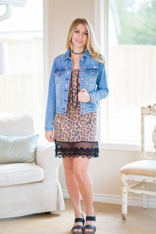 Cut to the Lace Cami Slip with Lace Trim in Leopard