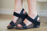 Bandit Strappy Wedge Sandals in Black