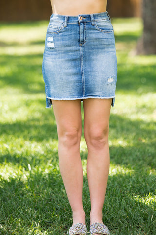 Coming Out Strong Light Wash Denim Skirt