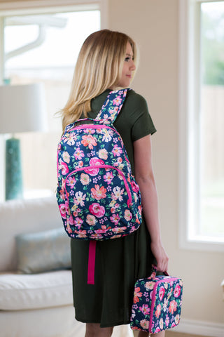 The Jentry Floral Backpack in Navy Blue
