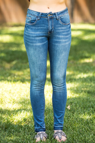 Make It Worth It Full Length Skinny Jeans in Medium Wash