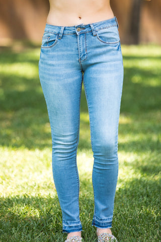 Make It Worth It Full Length Skinny Jeans in Light Wash