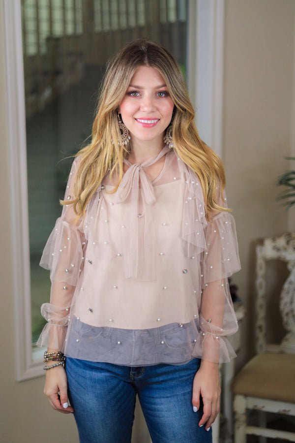 Pearl's Best Friend Ruffled Lace Blouse with Pearl Detailing & Neck Tie in Nude Tan