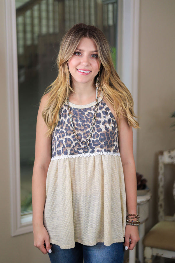 She's Got A Way Waffle Knit Peplum Tank Top with Leopard Print in Ivory