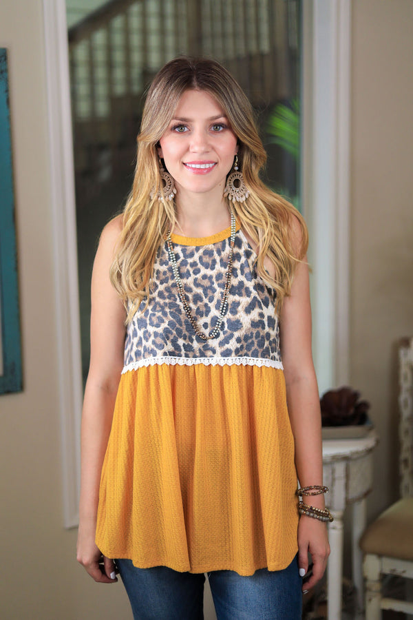 She's Got A Way Waffle Knit Peplum Tank Top with Leopard Print in Mustard Yellow