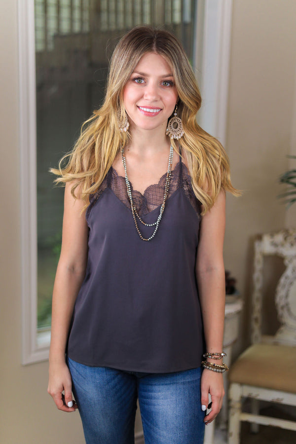 Make Your Move Solid Camisole with Lace Trim in Charcoal Grey