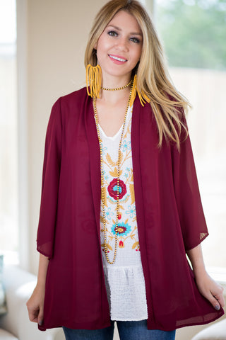 Can't Miss It Sheer Kimono in Maroon