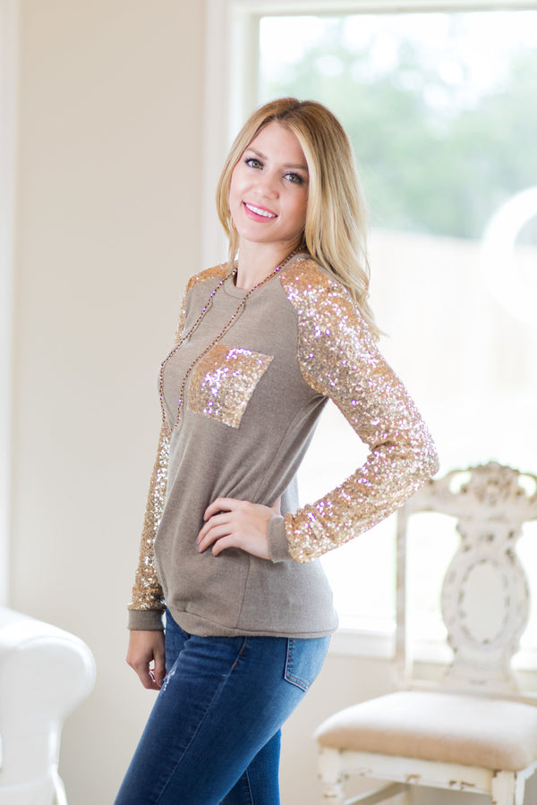 Back In Action Gold Sequin Top
