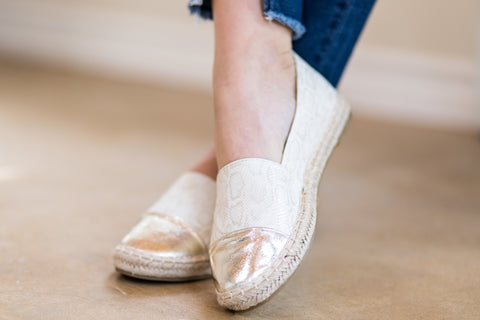 Only One Direction Metallic Snakeskin Espadrille in Gold