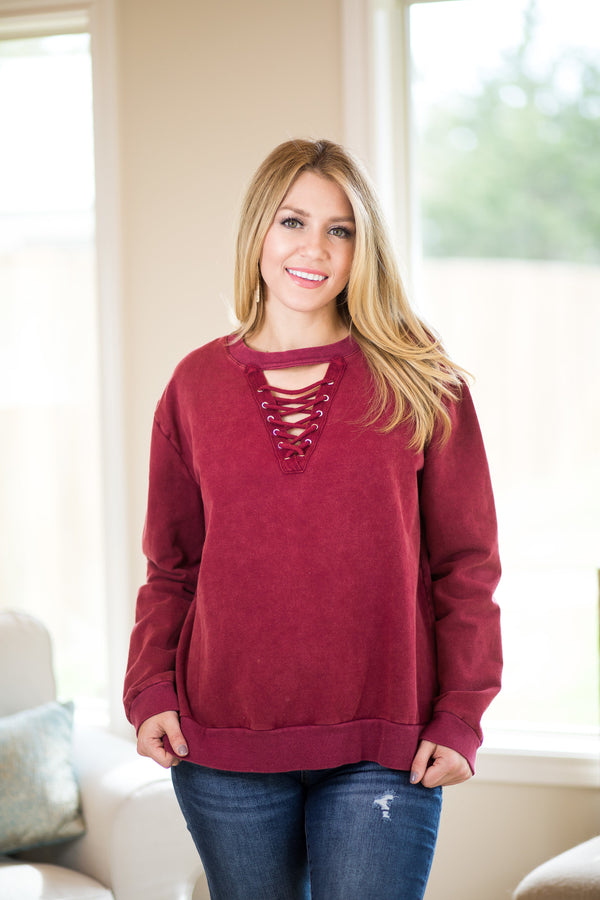 Good Girl Gone Rad Long Sleeve Lace Up Sweater in Maroon