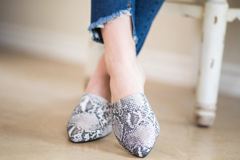 Wild About It Snakeskin Flat Mule Slide In Shoes
