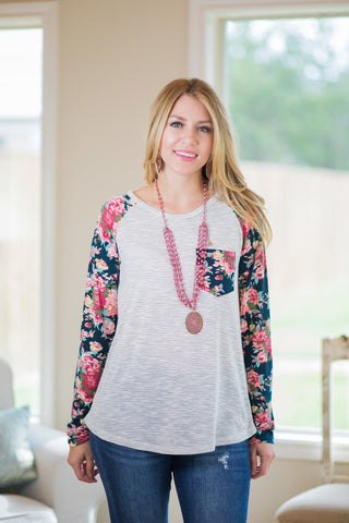Win Them Over Stripe Pocket Blouse with Floral Long Sleeves