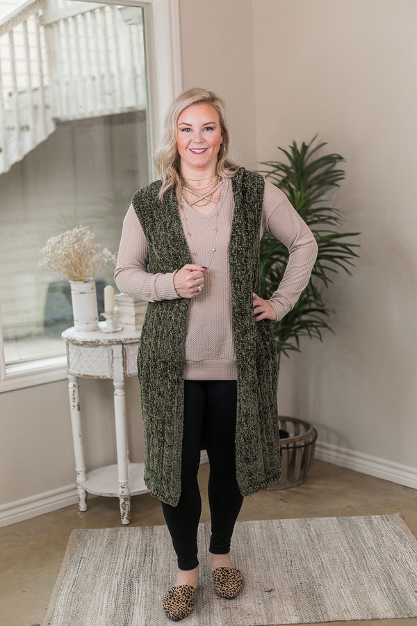Easy Days Long Chenille Knit Vest with Hood in Olive Green