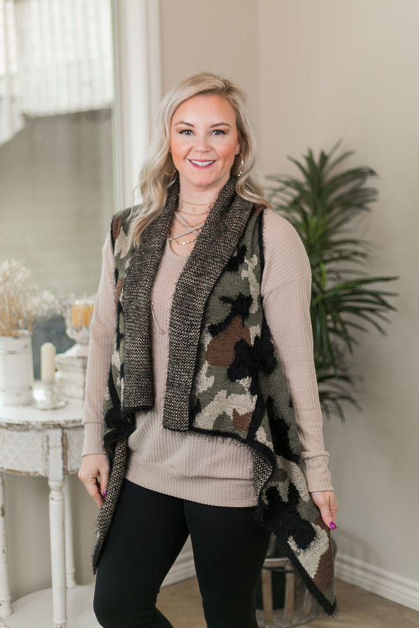 Simply Sweet Super Soft Print Eyelash Sweater Vest in Camouflage