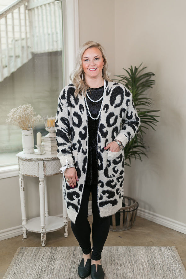 On The Prowl Leopard Print Long Sleeve Eyelash Cardigan in White