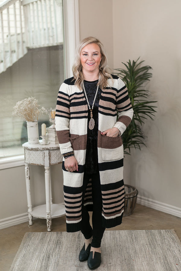 Make Your Mark Multi Stripe Long Knit Cardigan with Pockets in Ivory, Mocha & Black