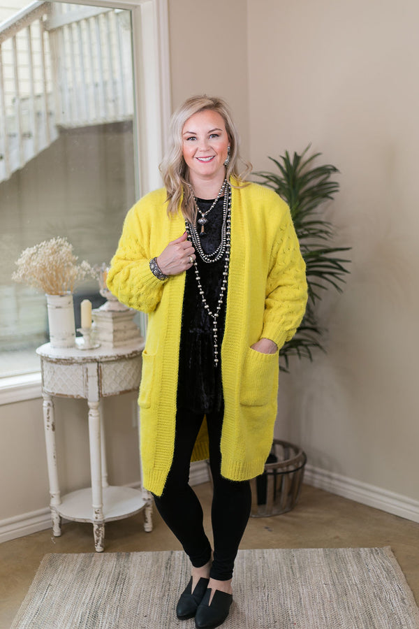She's Dangerous Long Knit Cardigan with Braid Knitted Sleeves in Bright Yellow