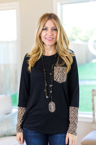 Nobody Like You Long Sleeve Blouse with Leopard Accents in Black