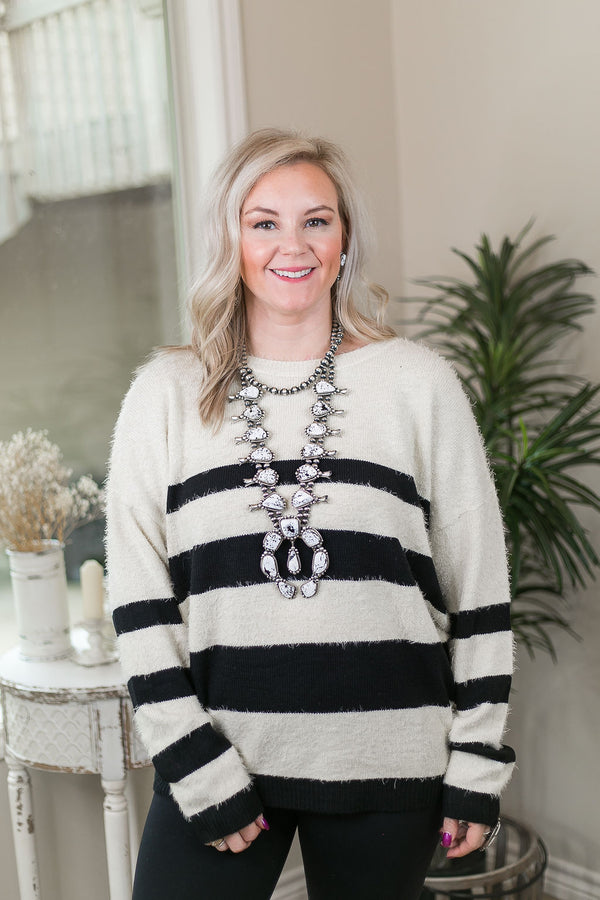 Beat You To It Super Soft Stripe Pullover Sweater in Ivory & Black