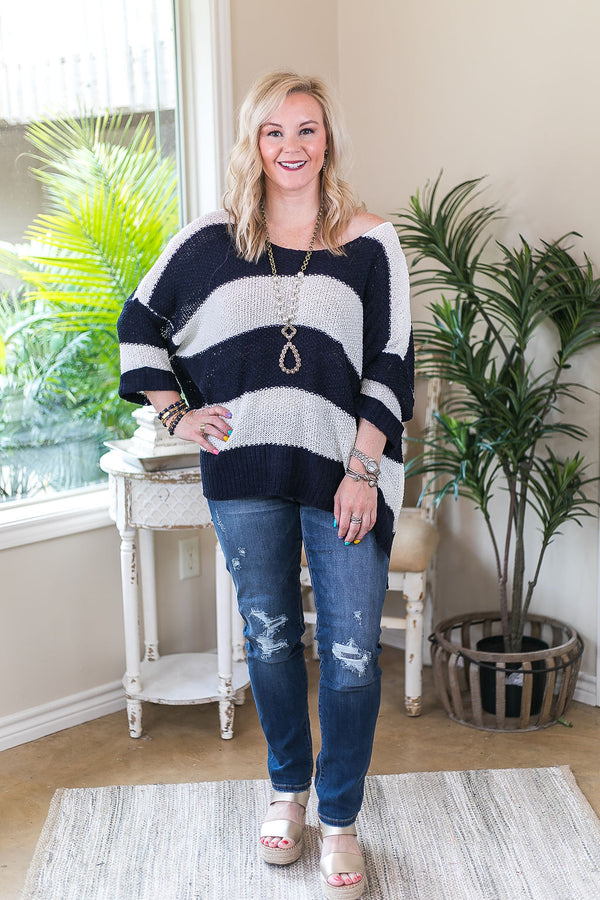 With All My Love Oversized Rugby Stripe Knit Sweater in Navy Blue