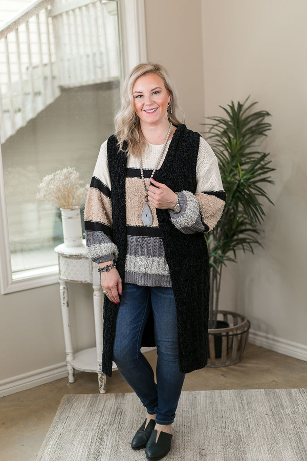 Easy Days Long Chenille Knit Vest with Hood in Black
