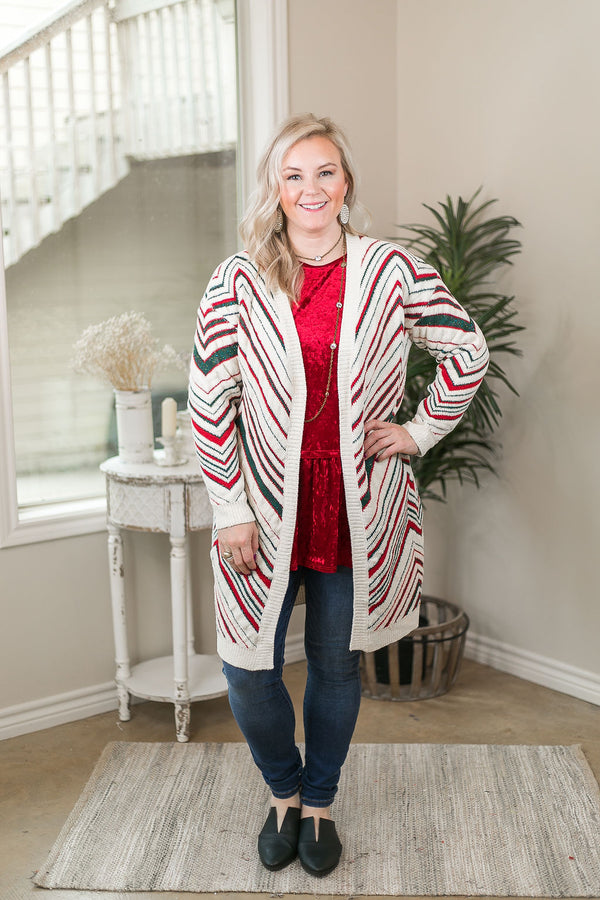 My Favorite Tradition Chenille Cardigan with Red & Green Stripes