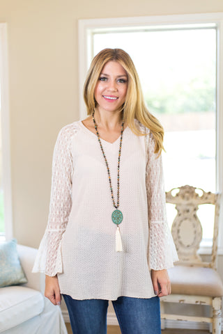 Just That Simple Waffle Knit Top with Lace Sleeves in Ivory