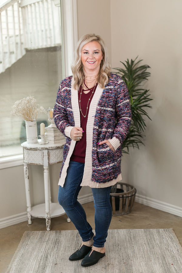 Don't Mind Me Multi Tone Long Sleeve Knit Cardigan in Pink Denim