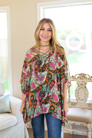 Sure Thing Sheer Paisley Print Oversized Poncho Top