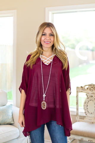 Sure Thing Sheer Oversized Poncho Top in Maroon