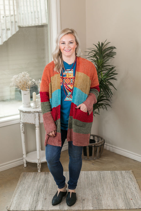 Happy Hour Multicolor Chenille Cardigan in Orange