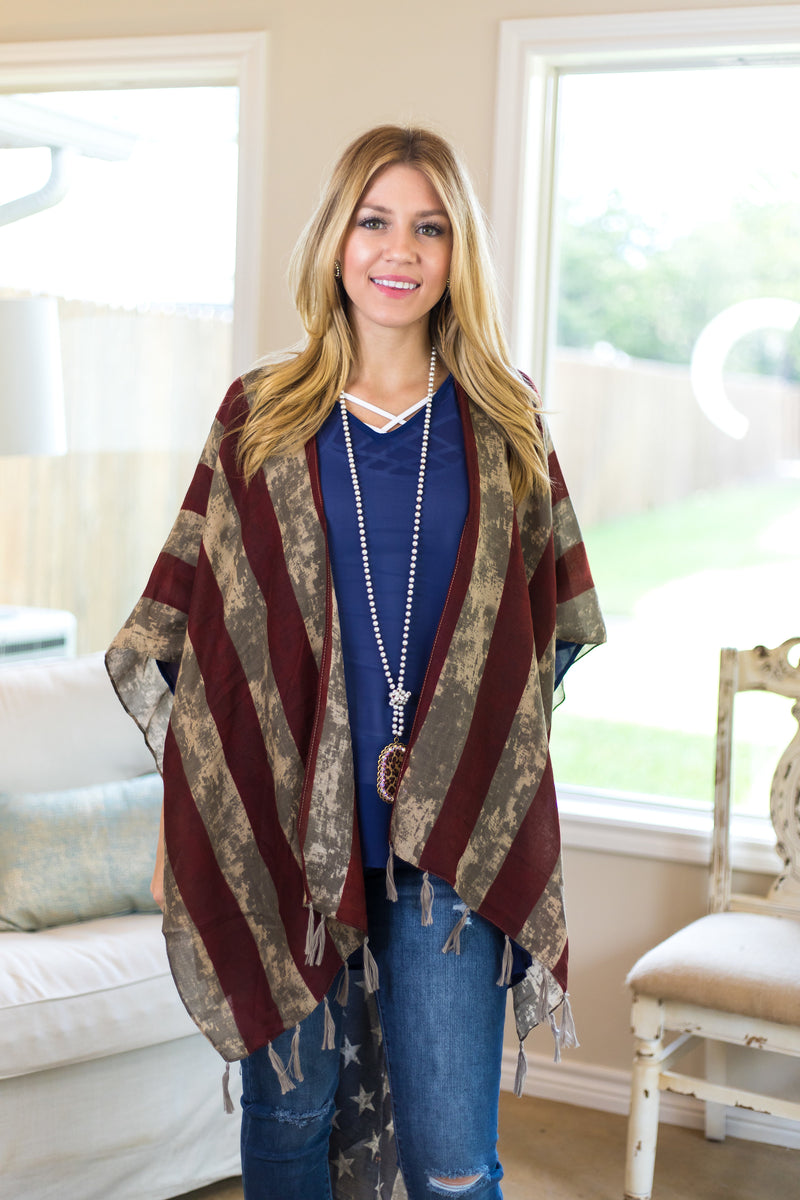 Old Glory Vintage Distressed American Flag Shawl with Tassel Trim
