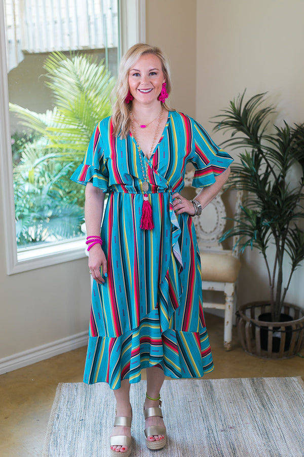Check Your Agenda Serape Ruffle Wrap Midi Dress in Turquoise