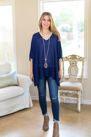 Sure Thing Sheer Oversized Poncho Top in Navy Blue