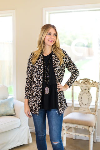 Test Your Limits Leopard Print Cardigan with Sequin Elbow Patches