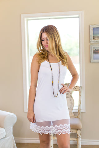 Cut to the Lace Cami Slip with Lace Trim in Ivory