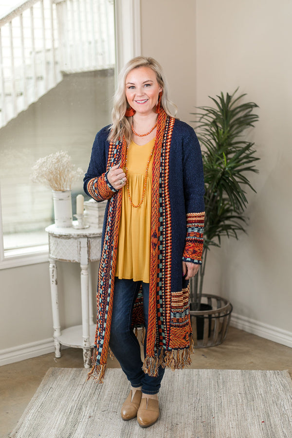 Got This Feeling Multi Colored Tribal Trim Cardigan in Navy Blue