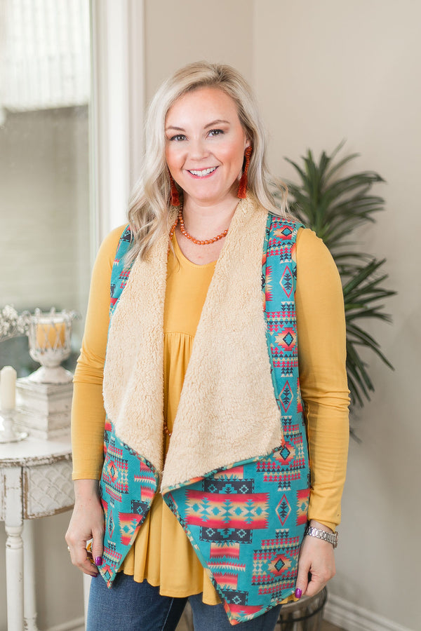 She Got The Best of Me Aztec Print Suede Vest with Sherpa Lining in Turquoise