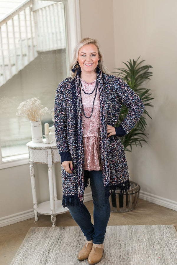 Sparkle All Night Long Tinsel Tweed Cardigan with Fringe Trim in Navy Blue